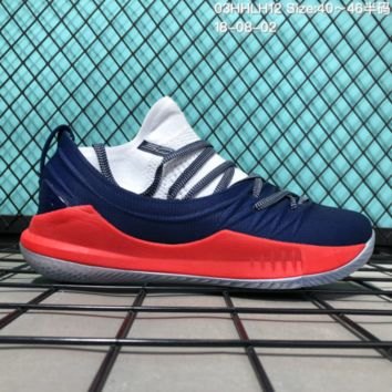 HCXX B306 Under Armour Curry 5 Actual Combat Basketball Shoes Dark Blue Red White