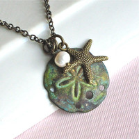 Sand Dollar Necklace   Starfish Patina Pearl  by mcstoneworks