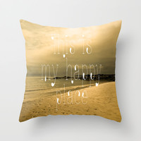 Happy Place Throw Pillow by Alice Gosling | Society6