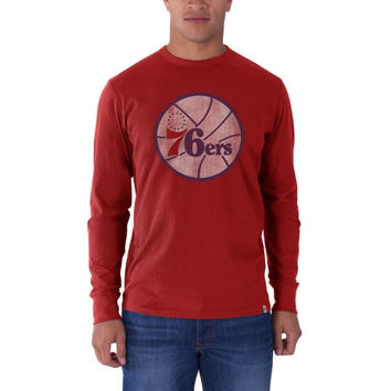 Philadelphia 76ers '47 Brand Current Logo Flanker Long Sleeve T-Shirt - Red