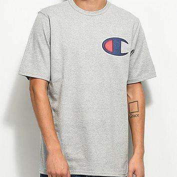 NEW CHAMPION Men's Heritage Tee BIG C LOGO T-SHIRT --GRAY