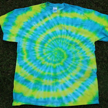 Blue and Yellow Tie Dye T-shirt, Spiral Tie Dye, Handmade