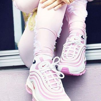 "Nike Air Max 97 Retro Running Shoes ""White&Pink""313054-161"