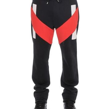 Givenchy Sweatpants with Contrast Panels, Black/Red | Neiman Marcus