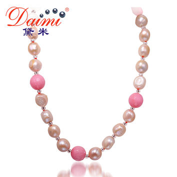 DAIMI 11-12MM Natural Baroque Pearl & Stone Necklace Colorful Jewelry, Pearl Necklace Ribbon Necklace Long Necklace