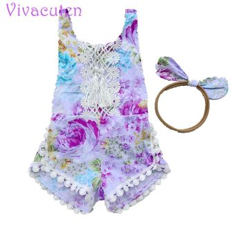 2017 summer new baby girls vintage floral  print cotton bubble rompers newborn infants pink  jumpsuits baby girls clothes