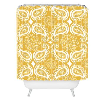 Heather Dutton Plush Paisley Goldenrod Shower Curtain