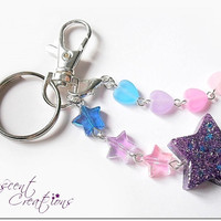 Glittery purple star keychain, girly resin star keyclip, dangle hearts and stars keychain on swivel clasp, dangle hearts purse zipper clip