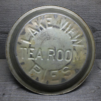 Vintage Lakeview Tea Room Tin Pie Plate with Raised Letters Baking Pan