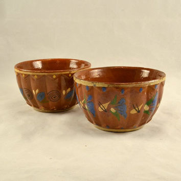 Mexico Redware Pottery Bowls Tlaquepaque -  Two 1940s Decorated & Rustic Bowls