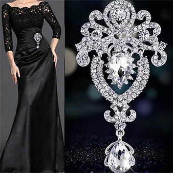Silver Large Flower Bridal Brooch Rhinestone Crystal Diamante Wedding Broach HU