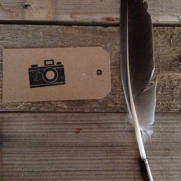 Vintage camera stamped gift tags