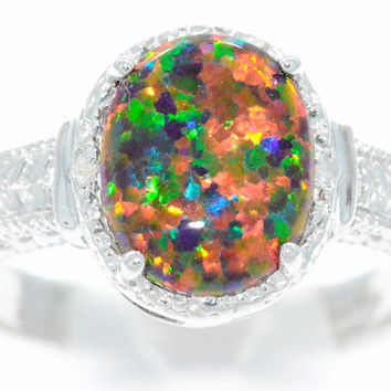 4 Carat Black Opal Oval Diamond Ring .925 Sterling Silver Rhodium Finish
