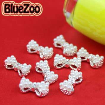 BlueZoo 10pcs pack 3D White Alloy Faux Pearl Rhinestone Bow Tie Decoration AB Clear Red Rhinestone Nail Art Decoration 13mm*6mm