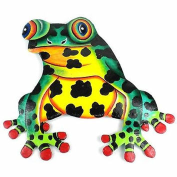 Hand Painted Metal Bullfrog Tropical Design - Caribbean Craft