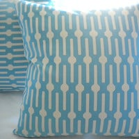 Blue geometric print pillow cover 18 x 18