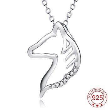 Sterling Silver Horse Head Crystal Pendant Necklace