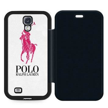 Ralph Lauren Polo Logo Leather Wallet Flip Case Samsung Galaxy S4