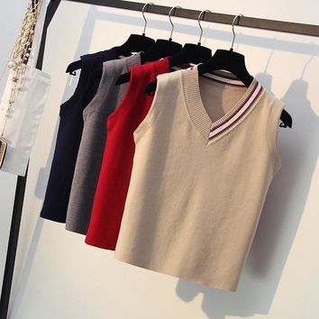 ONLYSTAR Sleeveless V-Neck Women Sweater Spring Autumn Knitted Sweater Vest Fashion Outwear Female Casual Jumper