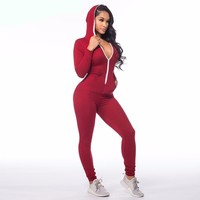 One Piece Outfits Jumpsuits Long Sleeve Front Zipper Hooded Long Pants