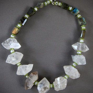 SALE Huge Double Terminated Crystal Quartz Necklace Rustic Tibetan Diamond Shaped Crystals with Labradorite and Peridot Gemstone Jewelry