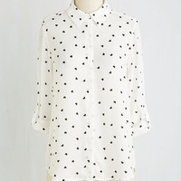 Quirky Mid-length 3 Bet Your Bottom Collar Top by ModCloth