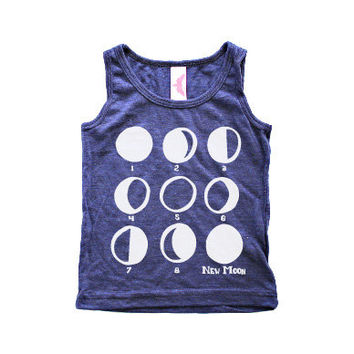 Moon Phases Kids Tank - Toddler Tank Top - Kids Moon Shirt - Toddler Tshirt - Hipster Kids Clothes - Strawberry Moth