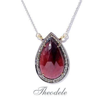 Diamond & Slice Sapphire Pear Shape  Pendant Necklace