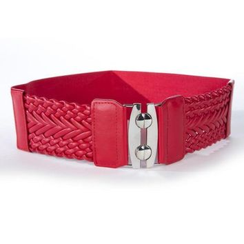 Fashion Women's Wide Braided Stretch Fashion Belt