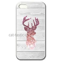 Iphone 4 4s 5,5S, 5C case cover image of a sparkle pink glitter quirky deer wood