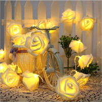 Colors Fashion Holiday Lighting 20 LED Novelty Rose Flower Fairy String Lights Wedding Garden Party Valentine's Day Decoration