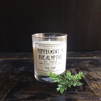 Peppermint & Eucalyptus Soy Candle | 8 oz Candle in Glass Jar | winter candle, fresh herbal scent, autumn decor