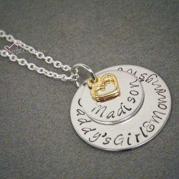 Name Necklace, Personalized Jewelry, Personalized Necklace, Gold Heart Charm, Layered Circle Necklace, Free US Shipping