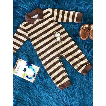 2018 Fall Boys Monkeying Around Applique Romper