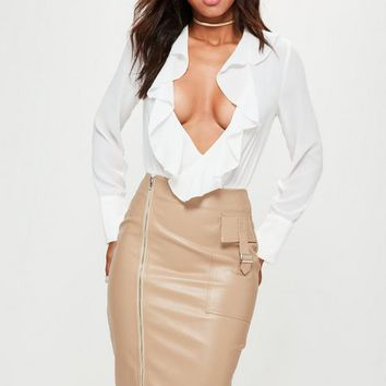 Missguided - Nude Faux Leather Zip Pocket Detail Midi Skirt