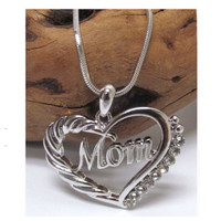 "Beautiful Eye Catching Crystal Accented ""Mom"" Heart Pendant Necklace"