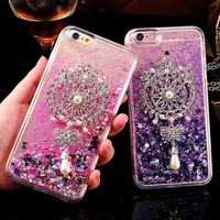 Bling Crystal Diamond Pearl Brooch Sunflower Dynamic Liquid Glitter Quicksand Case For iPhone 7 Plus 6 6S Plus 5 5S SE Capa Para