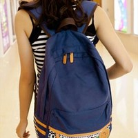 Canvas Backpack with Tribe Embellishment Blue from topsales