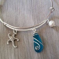 Handmade in Hawaii, wire wrapped teal  blue sea glass bracelet,beach glass bracelet ,sea glass jewelry,beach glass jewelry,Hawaiian jewelry.