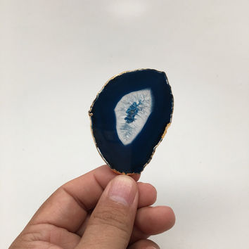 111.5 cts Blue Agate Druzy Slice Geode Pendant Gold Plated From Brazil, Bp1044