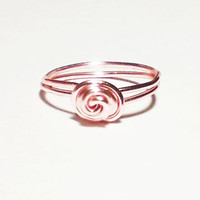 Dainty Rose Gold Ring Stacking Ring Size 2 3 4 5 6 7 8 9 10 11 12 13 Knot Ring Rose Ring Knotted Ring Wire Ring Gift Idea Under 15