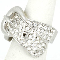 Silver Belt Buckle Ring with rhinestones
