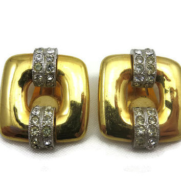 Kenneth Jay Lane Earrings - Gold Tone and Rhinestone, Pave, Clip Earrings, Costume Jewelry, Designer, KJL Earrings