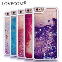 NEW 5S 6S 7 4S Case Glitter Stars Dynamic Liquid Quicksand Hard Phone Back Cover Cases For iPhone 4 4S 5 5S SE 5C 6 6S 7 Plus