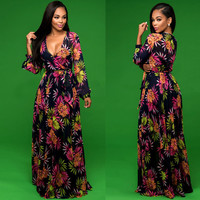 Deep-V Neck Long Sleeve Floral Maxi Dress