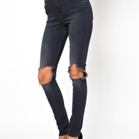 ASOS Ridley High Waist Ultra Skinny Jean in Warm Charcoal Blue with Bu