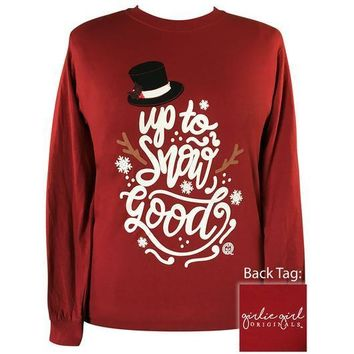 Girlie Girl Originals Preppy Up To Snow Good Snowman Holiday Long Sleeve T-Shirt