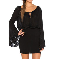 AUGUSTE Woodstock Mini Dress in Black
