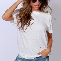 Rips & Tricks Distressed Tee Off White