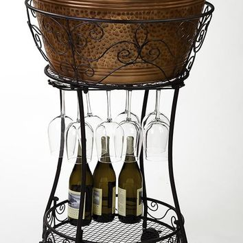 Hammered Faux-Copper Beverage Tub and Stand - Barware - Tabletop - Home Decor | HomeDecorators.com